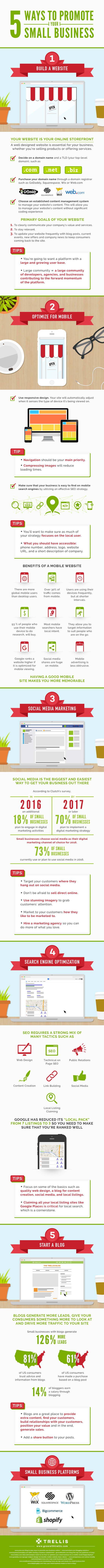 Estrategias para promocionar tu negocio en Internet infografia