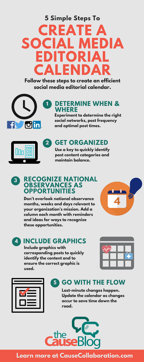 Crea un calendario de contenido para redes sociales en pocos pasos #infografía