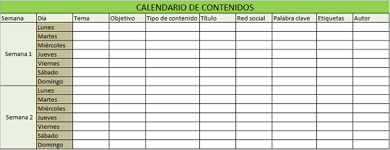 Ejemplo de plantilla para calendario de contenidos