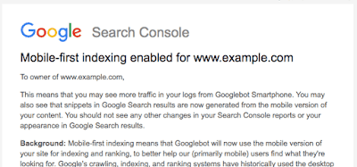 aviso google mobile first indexing