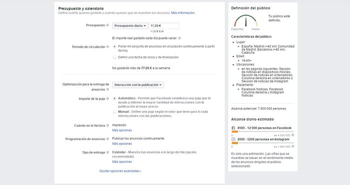 Destina un presupuesto para tus anuncios de Facebook