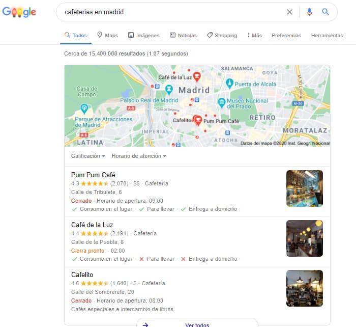 resultado de busqueda de cafeterias en madrid en google como aparecer de primero en google maps