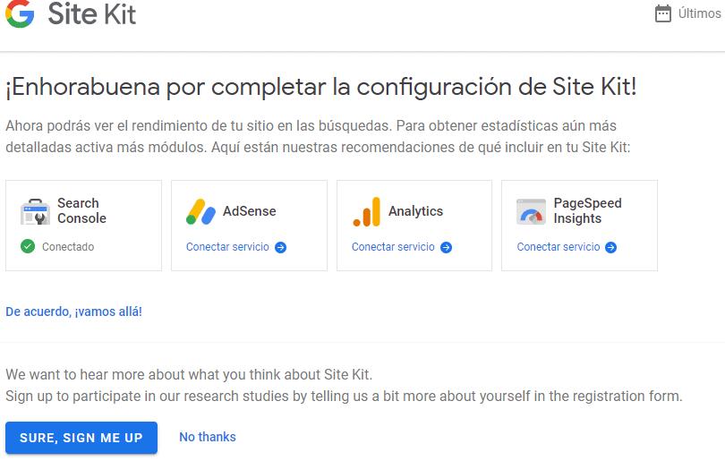 configuracion site kit