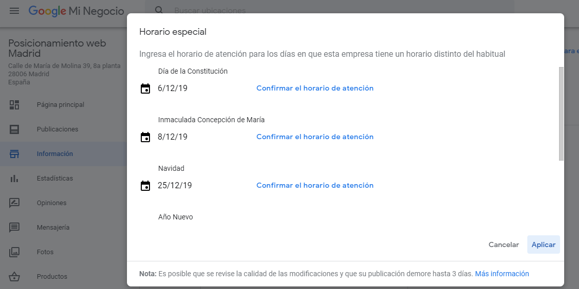 google my business horario