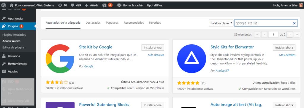instalar plugin site kit de google