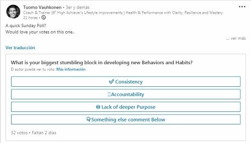 ejemplo de encuesta en linkedin