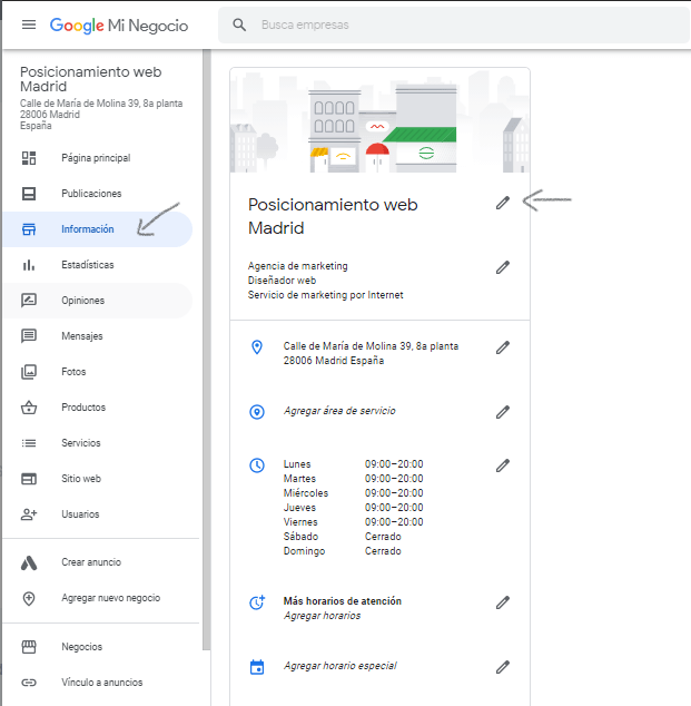 editar google my business