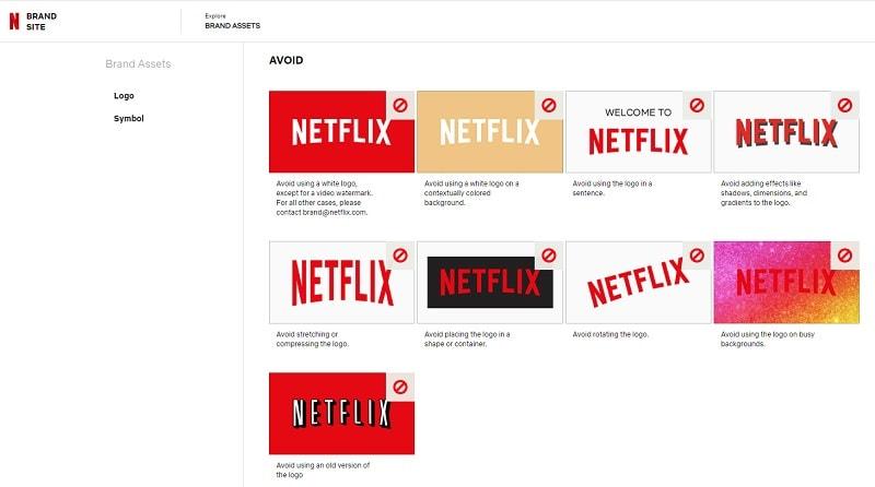 reglas para el uso del logo de netflix