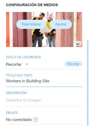 texto alt wix